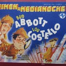 Cine: PROGRAMA GRANDE - CRIMEN A MEDIANOCHE - BUD ABBOTT , LOU COSTELLO - IDEAL CINEMA , BENICARLO 1848. Lote 37235690