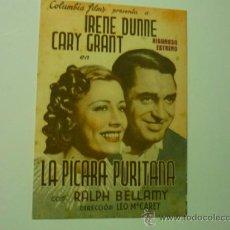 Cine: PROGRAMA DOBLE LA PICARA PURITANA . IRENE DUNNE .-CARY GRANT -PUBLICIDAD. Lote 37242657