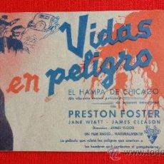 Cine: VIDAS EN PELIGRO, DOBLE ORIGINAL, EXCTE. ESTADO, PRESTON FOSTER JANE WIATT, SIN PUBLICIDAD. Lote 37285868