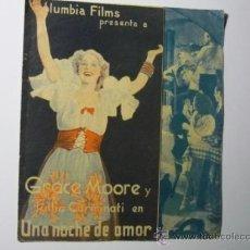 Cine: PROGRAMA DOBLE UNA NOCHE DE AMOR.- GRACE MOORE -PUBLICIDAD. Lote 37299562