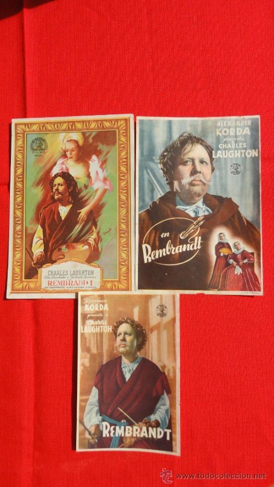 REMBRANDT, 3 PROGRAMAS , ALEXANDER KORDA CH. LAUGTHON, DOS CON PUBLICIDAD (Cine - Folletos de Mano - Drama)