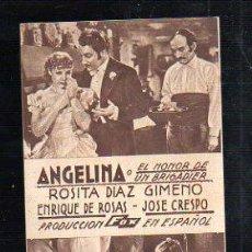 Cine: PROGRAMA DE CINE. C/P. ANGELINA O EL HONOR DE UN BRIGADIER. IMPRENTA REPETO, CADIZ. Lote 37308789