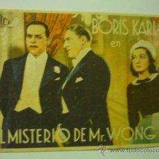 Cine: PROGRAMA EL MISTERIO DE MR.WONG - BORIS KARLOFF. Lote 37387712