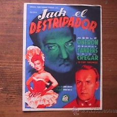 Cine: JACK EL DESTRIPADOR, MERLE OBERON, GEORGE SANDERS, CINE AVELLANEDA, LAS PALMAS G. C.. Lote 37403522