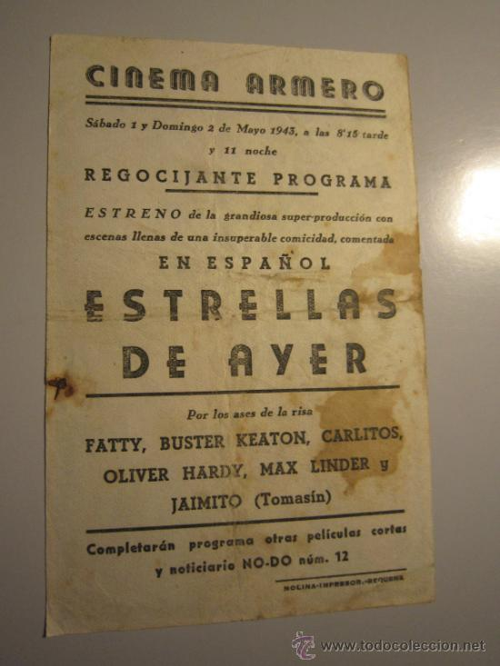 Cine: PROGRAMA DE CINE - ESTRELLAS DE AYER - 1940 - PUBLICIDAD - SUCIO Y DOBLADO - Foto 2 - 38960355