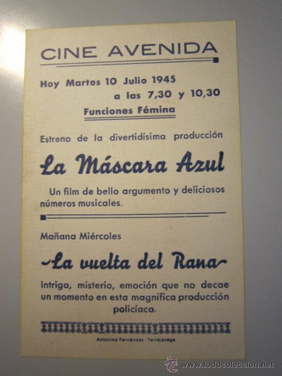 Cine: PROGRAMA DE CINE - MÁSCARA AZUL - 1953 - PUBLICIDAD - Foto 2 - 39006117