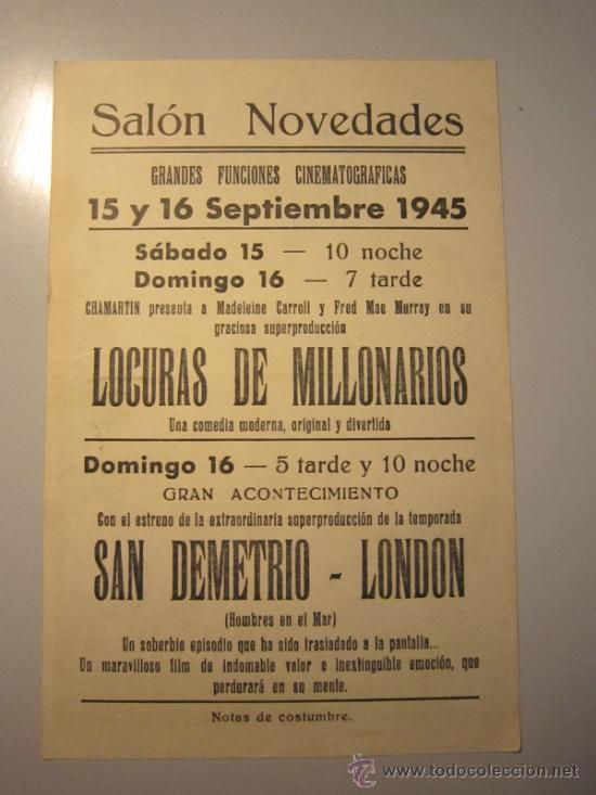 Cine: PROGRAMA DE CINE - SAN DEMETRIO LONDON - 1943 - PUBLICIDAD - Foto 2 - 37787449