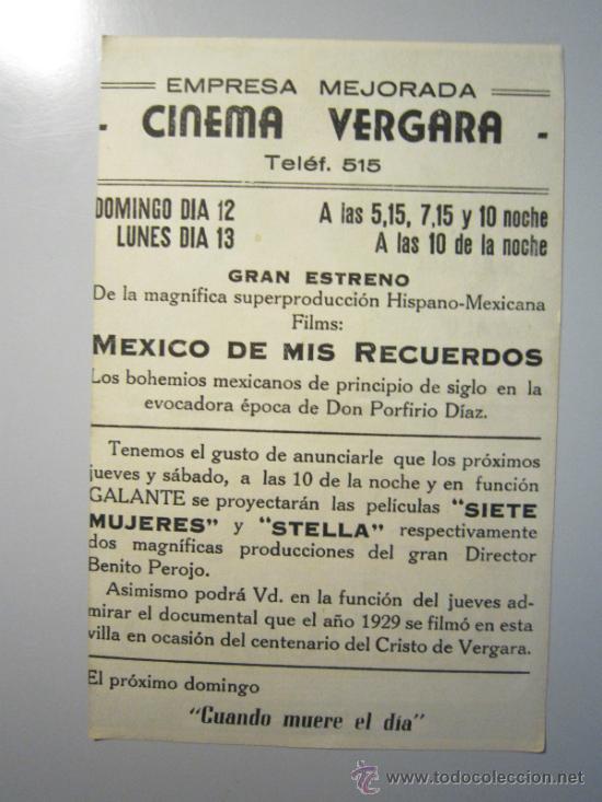 Cine: PROGRAMA DE CINE - MEXICO DE MIS RECUERDOS - 1943 - PUBLICIDAD - Foto 2 - 39045331