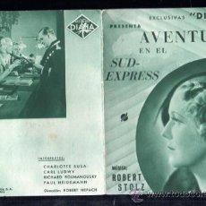 Cine: PROGRAMA DE CINE DOBLE . S/P. AVENTURA EN EL SUD-EXPRESS. . Lote 37420086