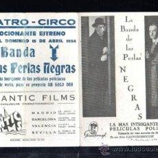 Cine: PROGRAMA DE CINE DOBLE. C/P. LA BANDA DE LAS PERLAS NEGRAS. TEATRO CIRCO. IZAGUIRRE. 1934. Lote 37420165