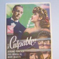 Cine: PROGRAMA DE CINE - CULPABLE - 1946. Lote 37425449