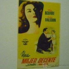 Foglietti di film di film antichi di cinema: PROGRAMA UNA MUJER DECENTE .- ELSA AGUIRRE. Lote 37430652