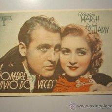 Cine: PROGRAMA DE CINE - EL HOMBRE QUE VIVIÓ DOS VECES - 1936 - PUBLICIDAD. Lote 37431084