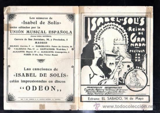 PROGRAMA DE CINE. C/P. ISABEL DE SOLIS CON PARTITURA DE LAS CANCIONES. UMECA S.A (Cine - Folletos de Mano - Musicales)