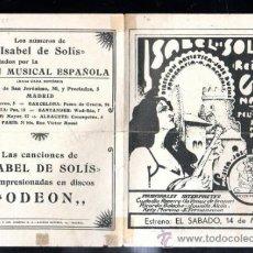 Cine: PROGRAMA DE CINE. C/P. ISABEL DE SOLIS CON PARTITURA DE LAS CANCIONES. UMECA S.A. Lote 37450660