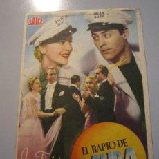 Cine: PROGRAMA DE CINE - EL RAPTO DE LAURA - 1938 - ALGUNA SUCIEDAD. Lote 37478599