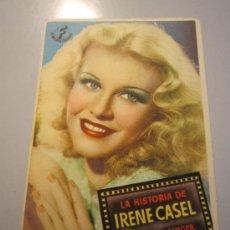 Cine: PROGRAMA DE CINE - LA HISTORIA DE IRENE CASEL - 1939 - DOBLADO. Lote 37480589