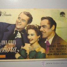 Cine: PROGRAMA DE CINE - UNA GRAN SEÑORA - 1942 - PUBLICIDAD - ALGO SOBADO. Lote 37546371