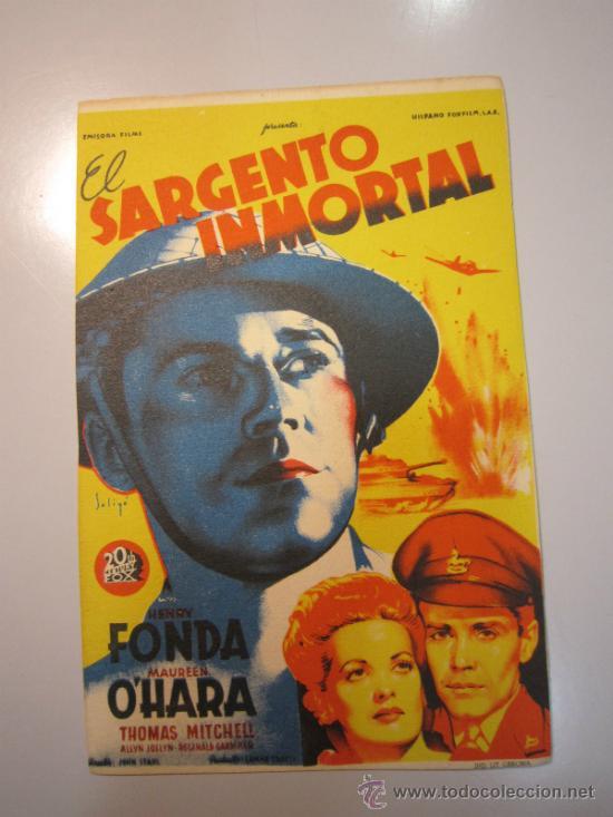 PROGRAMA DE CINE - EL SARGENTO INMORTAL - 1943 (Cine - Folletos de Mano - Bélicas)