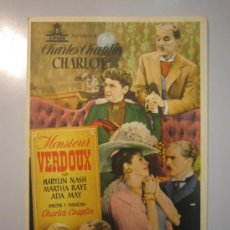 Cine: PROGRAMA DE CINE - MONSIEUR VERDOUX - 1947. Lote 37613747