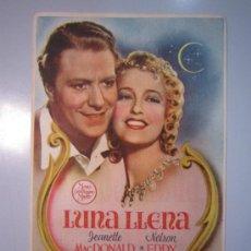 Cine: PROGRAMA DE CINE - LUNA LLENA - 1940 - PUBLICIDAD - DOBLADO. Lote 37614160