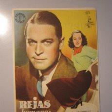Cine: PROGRAMA DE CINE - REJAS HUMANAS - 1939 - PUBLICIDAD - SELLADO REVERSO . Lote 37730883