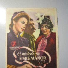 Cine: PROGRAMA DE CINE - EL MISTERIO DE FISKE MANOR - 1941 . Lote 37787811