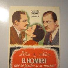 Cine: PROGRAMA DE CINE - EL HOMBRE QUE SE PERDIÓ A SI MISMO - 1941 - PUBLICIDAD . Lote 37787946