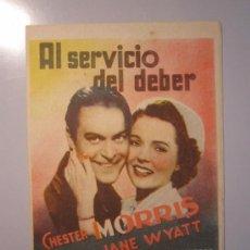 Cine: PROGRAMA DE CINE - AL SERVICIO DEL DEBER - 1940 - PUBLICIDAD . Lote 37804658