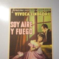 Cine: PROGRAMA DE CINE - SOY AIRE Y FUEGO - 1944. Lote 37820495