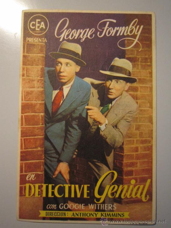 PROGRAMA DE CINE - DETECTIVE GENIAL - 1939 - PUBLICIDAD (Cine - Folletos de Mano - Acción)