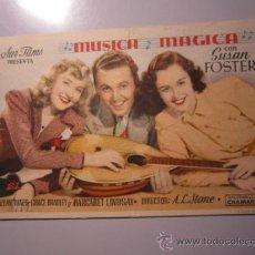 Cine: PROGRAMA DE CINE - MÚSICA MÁGICA - 1941 - DOBLADO. Lote 37918297