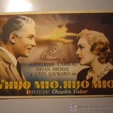 Cine: PROGRAMA DE CINE - HIJO MIO, HIJO MIO - 1940 - PUBLICIDAD. Lote 37934762