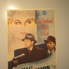 Cine: PROGRAMA DE CINE - ESPIAS EN ACCION - 1940 - PUBLICIDAD - ESCRITO A MÁQUINA. Lote 37935000