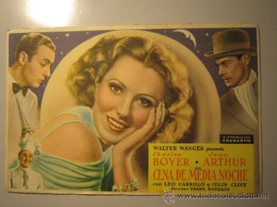 PROGRAMA DE CINE - CENA DE MEDIA NOCHE - 1937 (Cine - Folletos de Mano - Comedia)