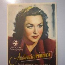Cine: PROGRAMA DE CINE - AUDIENCIA PÚBLICA - 1946. Lote 37938560