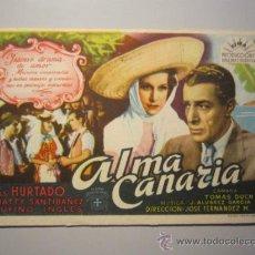 Cine: PROGRAMA DE CINE - ALMA CANARIA - 1945. Lote 38692153