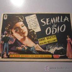 Cine: PROGRAMA DE CINE - SEMILLA DE ODIO - 1944 - PUBLICIDAD . Lote 38698845