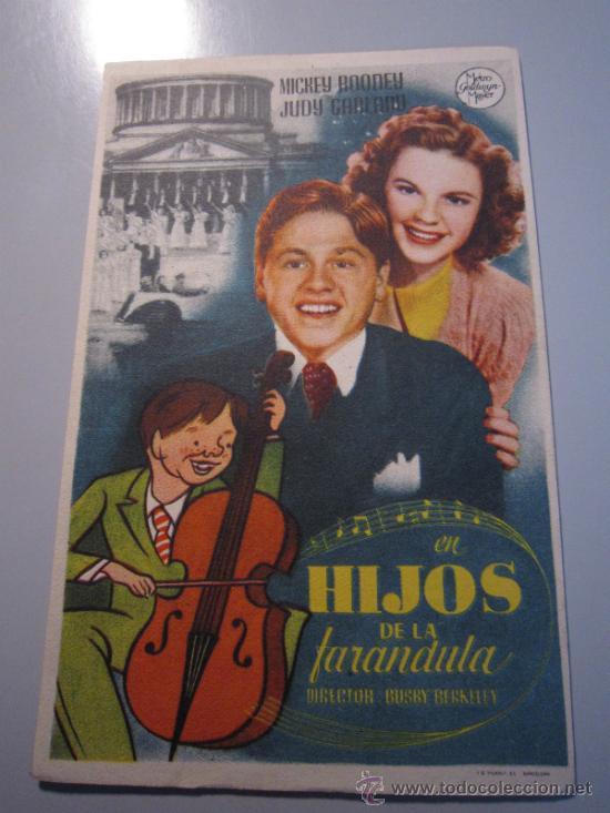 PROGRAMA DE CINE - HIJOS DE LA FARÁNDULA - 1939 (Cine - Folletos de Mano - Musicales)