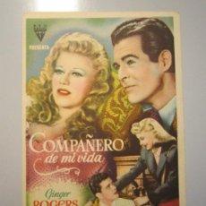 Cine: PROGRAMA DE CINE - COMPAÑERO DE MI VIDA - 1943. Lote 38973789