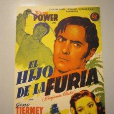 Cine: PROGRAMA DE CINE - EL HIJO DE LA FURIA - 1942 - PUBLICIDAD - DOBLADO. Lote 38974812