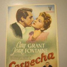 Cine: PROGRAMA DE CINE - SOSPECHA - 1941 - PUBLICIDAD. Lote 38988858
