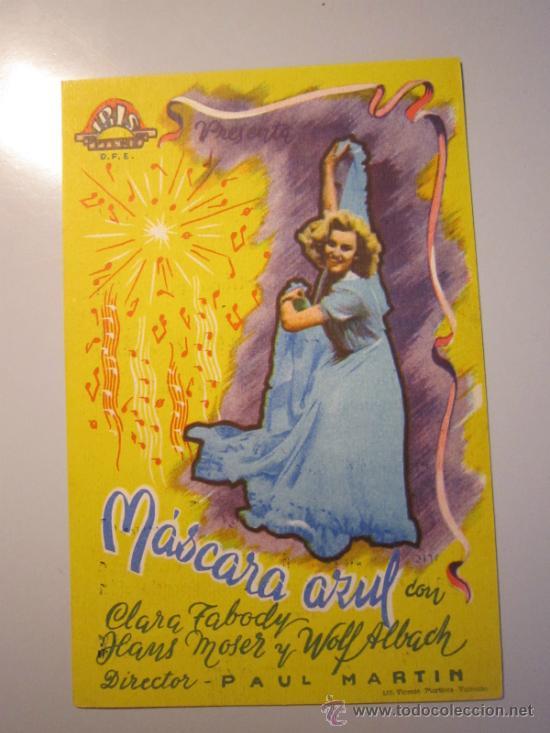 PROGRAMA DE CINE - MÁSCARA AZUL - 1953 - PUBLICIDAD (Cine - Folletos de Mano - Musicales)
