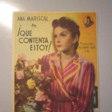 Cine: PROGRAMA DE CINE - QUE CONTENTA ESTOY - 1942 - PUBLICIDAD. Lote 39006447