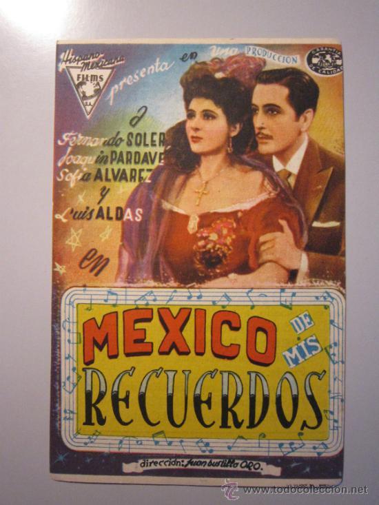 PROGRAMA DE CINE - MEXICO DE MIS RECUERDOS - 1943 - PUBLICIDAD (Cine - Folletos de Mano - Musicales)