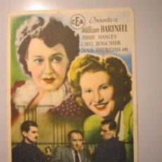 Cine: PROGRAMA DE CINE - UN CRIMEN PARA UNA SENTENCIA - 1945. Lote 39045930