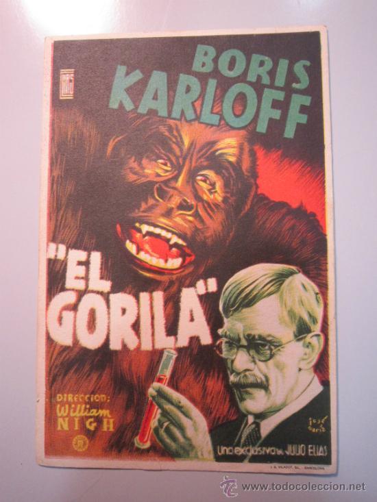 PROGRAMA DE CINE - EL GORILA - 1940 (Cine - Folletos de Mano - Terror)