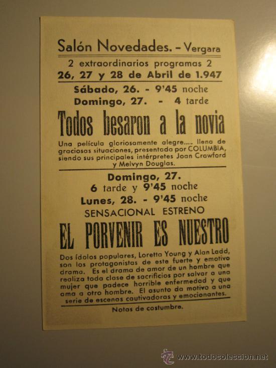 Cine: PROGRAMA DE CINE - EL PORVENIR ES NUESTRO - 1944 - PUBLICIDAD - Foto 2 - 39061361