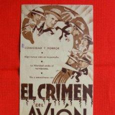 Cine: EL CRIMEN DEL AVION, DOBLE AÑOS 30, EDNA MAY OLIVER JAMES GLEASON, CON PUBLICIDAD ESPAÑOL. Lote 37443655