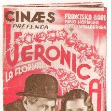 Cine: VERONICA LA FLORISTA PROGRAMA DOBLE CINAES FRANCISKA GAAL PAUL HORBIGER. Lote 37472367